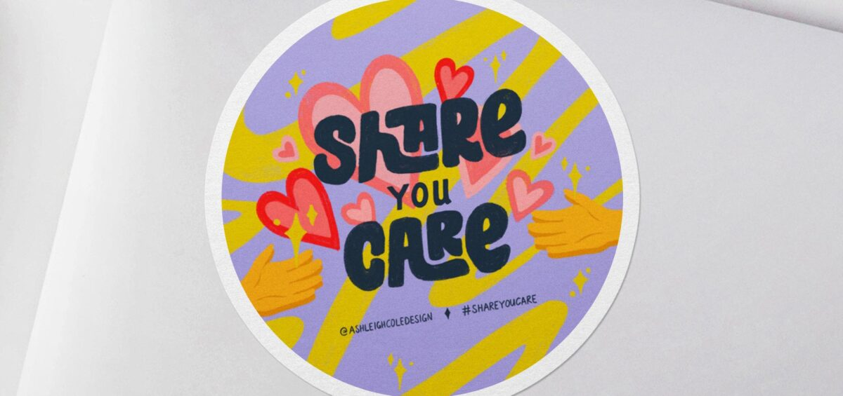 Purple Share You Care sticker by Ashleigh Cole
