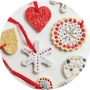 A collection of painted salt dough ornaments